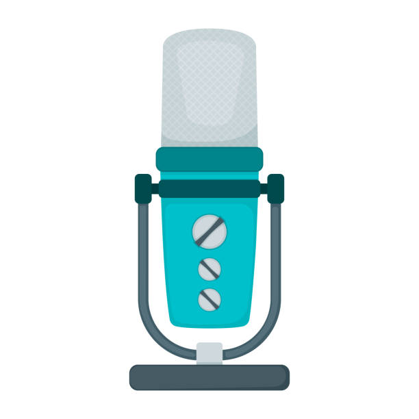 stockillustraties, clipart, cartoons en iconen met professionele microfoon voor radio, online internet streaming en podcast concept icoon platte vector illustratie, geïsoleerd op wit. - call center