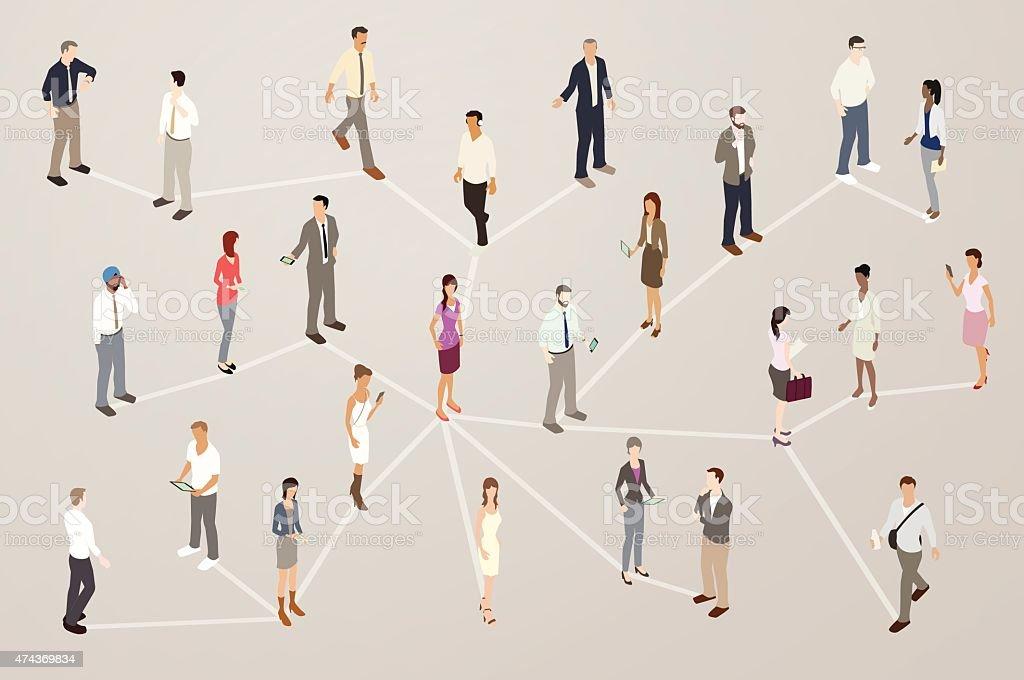Professional Network Illustration vector art illustration