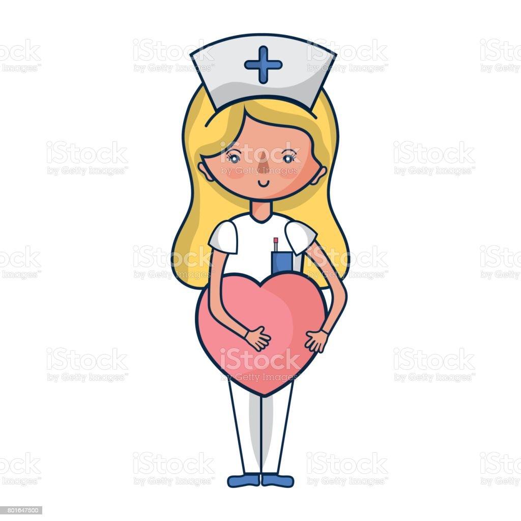 Krankenschwester mit Herz in Tha Hände – Vektorgrafik