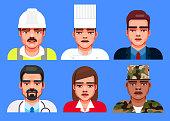 Flat design illustration style of multi-ethnic group of professionals.