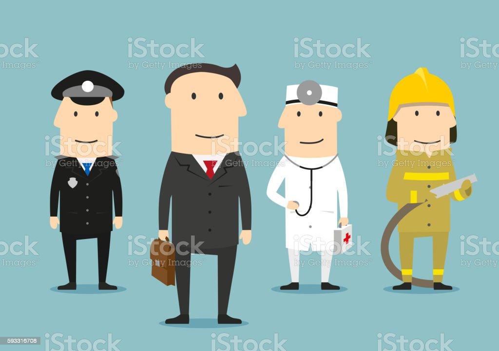 Professional occupation human characters. Policeman, doctor, fireman,...