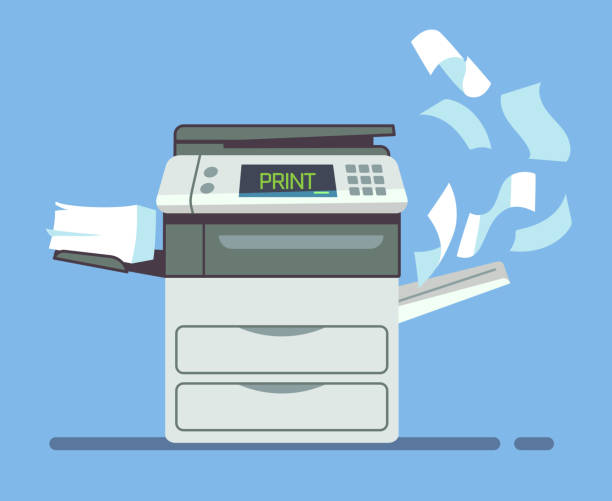 professional office copier, multifunction printer printing paper documents isolated vector illustration - kopiować stock illustrations