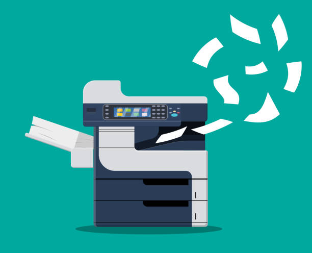 Professional office copier, Professional office copier, multifunction printer printing paper documents. Printer and copier machine for office work. Vector illustration in flat style samenwerking stock illustrations