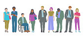 Flat Design style set of diverse Professional or Business people