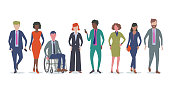Flat style Vector Illustration, set of diverse Professional or Business characters.