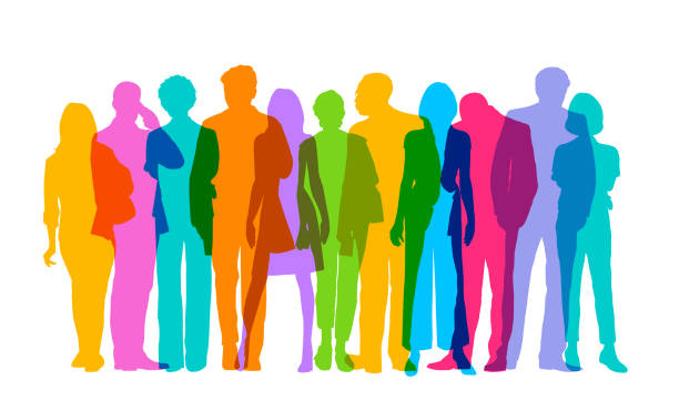 Professional or Business people Colourful overlapping silhouettes of Professional or Business people. in silhouette stock illustrations