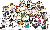 Cartoon Illustration of Professional People Big Group