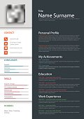Professional personal resume cv template vector eps 10
