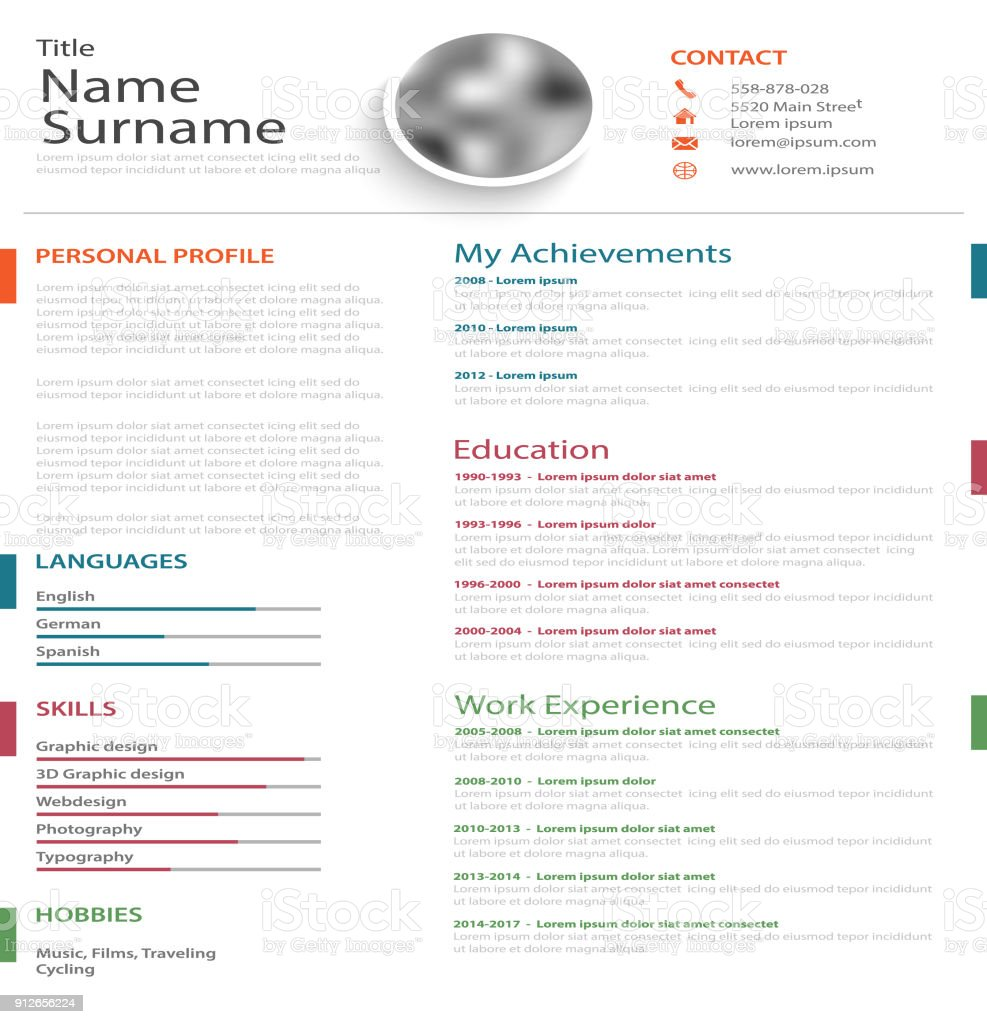 professional personal resume cv with colored bookmarks on