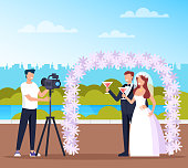 Professional photograph man character taking photo of wedding couple bride and groom in public park nature. Vector flat cartoon graphic design illustration