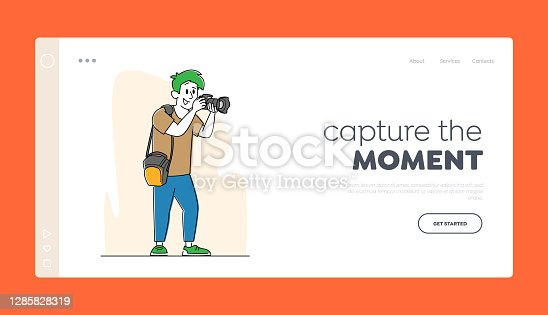 istock Professional Photographer with Photo Camera Make Picture Landing Page Template. Cameraman Expert Job, Creative Hobby 1285828319