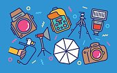Professional Photography Concept Line Art Bright Colors Illustration. Contemporary Trendy Vector Icons.