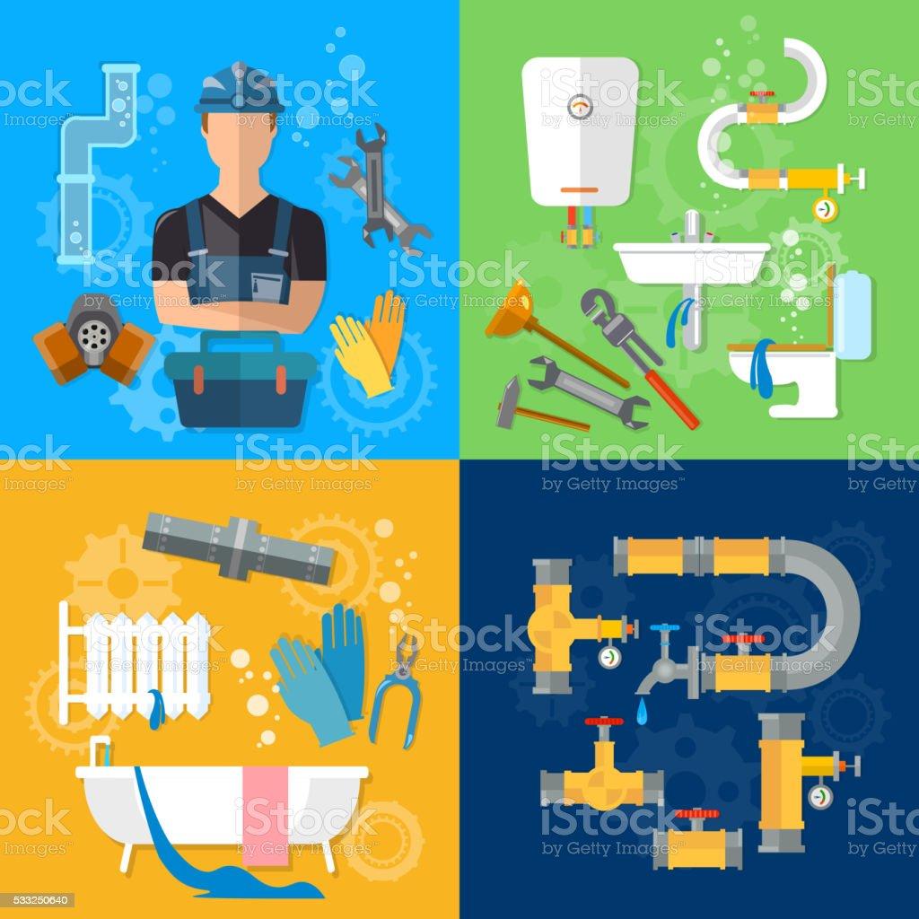 Professional Plumber Plumbing Repair Service Plumber Tools stock ...