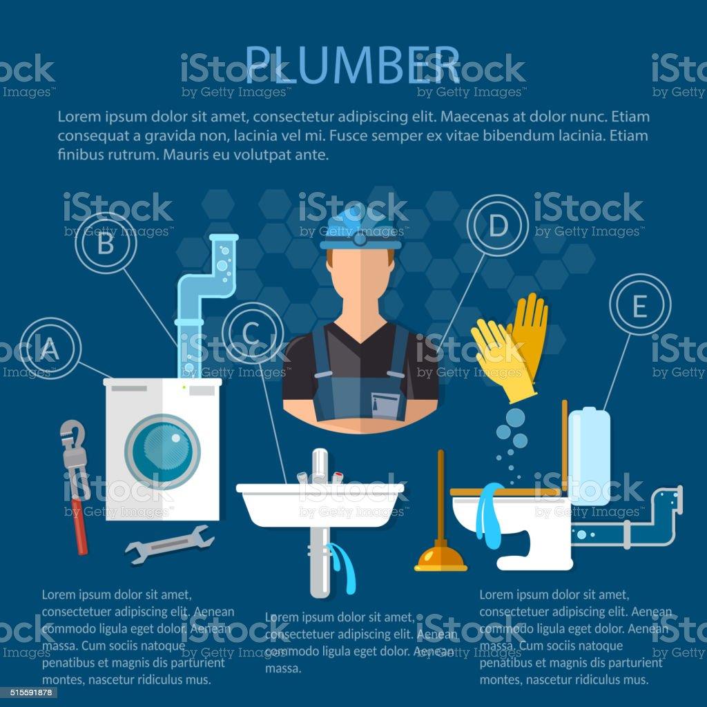 Professional Plumber Plumbing Works Repair Service stock vector art ...