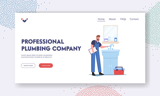 Professional Plumbing Company Landing Page Template. Plumber Character Fixing Broken Sink at Home Bathroom