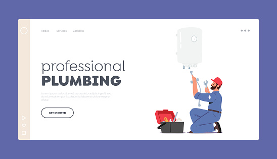 Professional Plumbing Landing Page Template. Call Master Plumber Character Install Boiler or Heater. Husband for an Hour