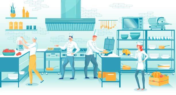 ilustraciones, imágenes clip art, dibujos animados e iconos de stock de personal de cocina de restaurante profesional en el trabajo - busy restaurant kitchen