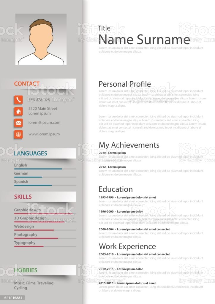 professional resume cv template stock illustration
