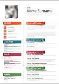 Professional resume cv with color stickers template vector eps 10