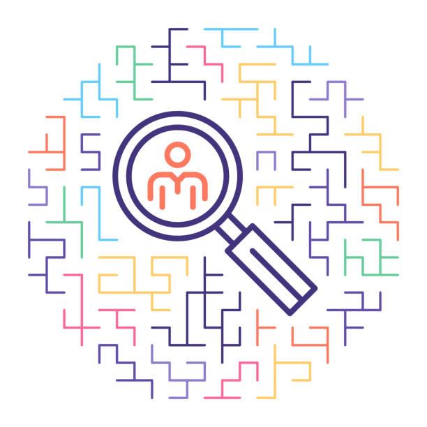 Professional Resume Line Icon Illustration Line vector icon illustration of professional resume with maze background. vacancy stock illustrations