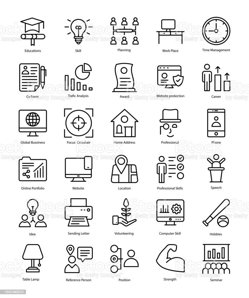 Professional Resume Line Icons Pack Stock Vector Art More Images