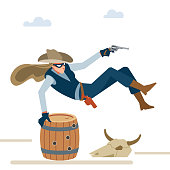 Professional robber cowboy girl in a shootout jumps over the barrel. Wild west. Cartoon vector illustration. Flat style. Isolated on white background.
