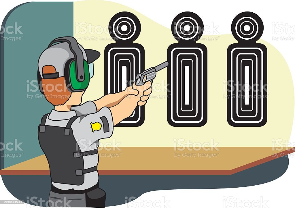 Professional safety training shooting vector art illustration