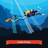 Professional scuba diver man underwater