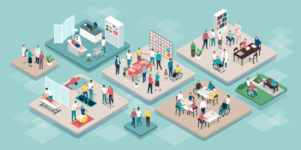 stockillustraties, clipart, cartoons en iconen met professionele senioren bijstand en pensionering home services - isometric