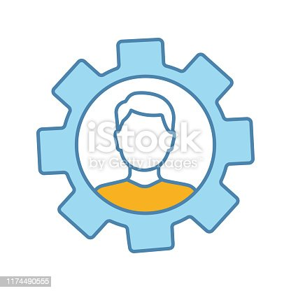 Professional skills color icon. Employability skills. Personal development. Self improvement. Cogwheel with person inside. Productivity. Isolated vector illustration