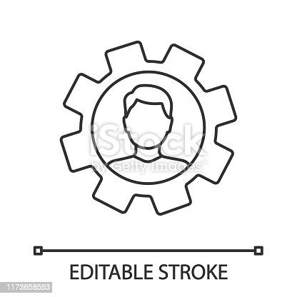 Professional skills linear icon. Thin line illustration. Employability skills. Personal development. Self improvement. Cogwheel with person inside. Productivity. Vector isolated drawing. Editable stroke