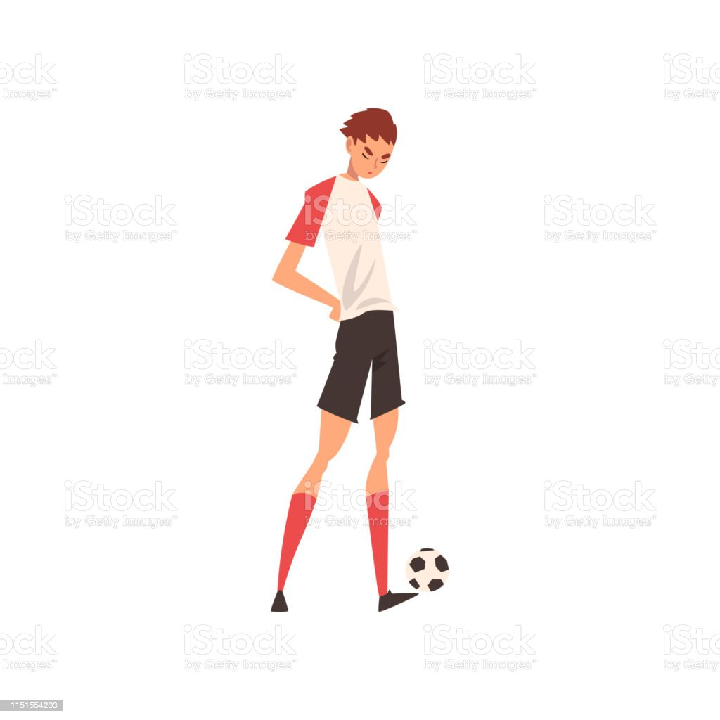 Professional Soccer Player Standing with Ball, Football Player...
