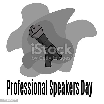 istock Professional Speakers Day, microphone in cartoon style for banner or poster 1329830071