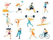 Professional Sport Activities Set. Men Women Sportsmen Characters Workout. Swimming, Basketball, Biking, Athletics, Gymnastics Exercises, Surfing, Golf, Weightlifting. Cartoon Flat Vector Illustration