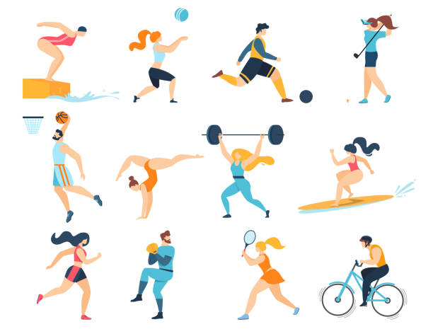 Professional Sport Activities. Men Women Sportsmen Professional Sport Activities Set. Men Women Sportsmen Characters Workout. Swimming, Basketball, Biking, Athletics, Gymnastics Exercises, Surfing, Golf, Weightlifting. Cartoon Flat Vector Illustration sports stock illustrations