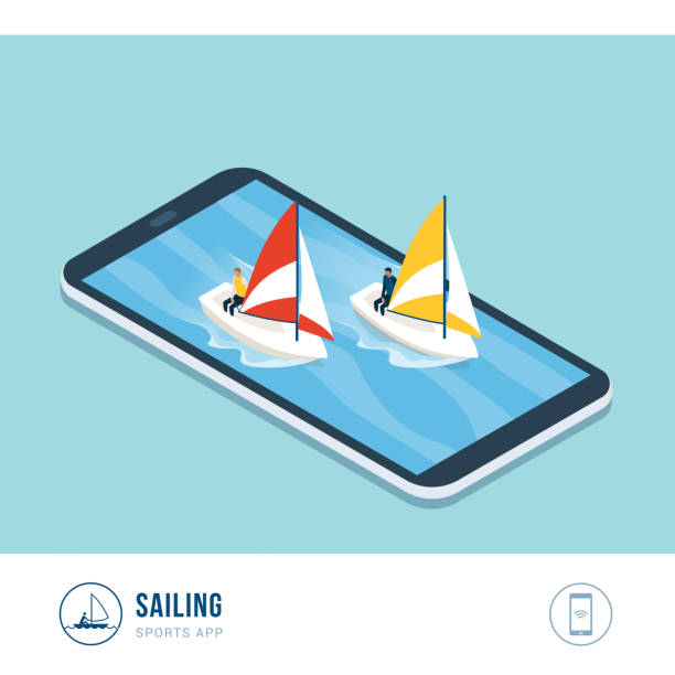 Professional sports competition: sailing Professional sports competition: sailing boats in the sea, mobile app sailing dinghy stock illustrations