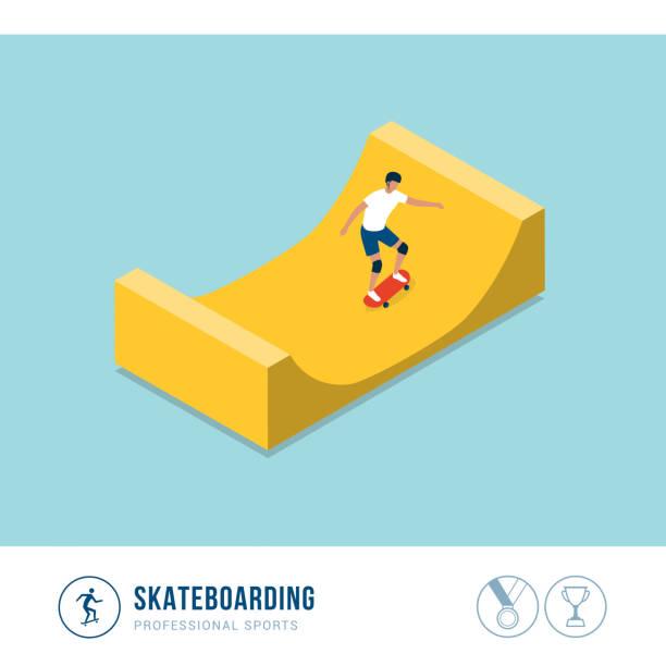 bildbanksillustrationer, clip art samt tecknat material och ikoner med professionell idrotts tävling: skateboard - skatepark