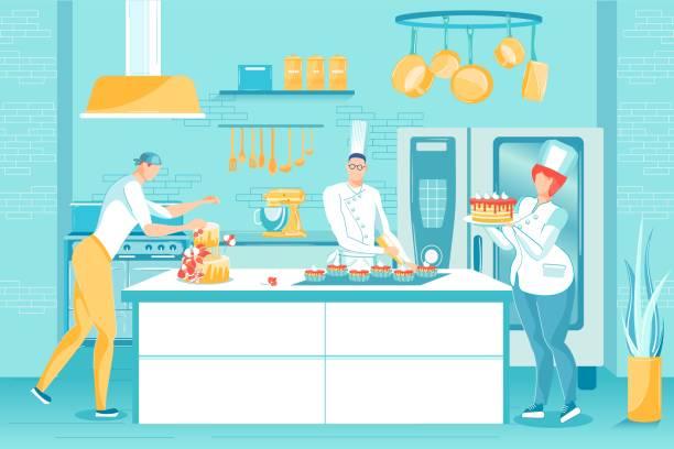 ilustraciones, imágenes clip art, dibujos animados e iconos de stock de personal profesional horneando pastel muffin en la cocina - busy restaurant kitchen