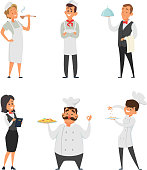 Professional staff of the restaurant. Cook, waiter and other cartoon characters