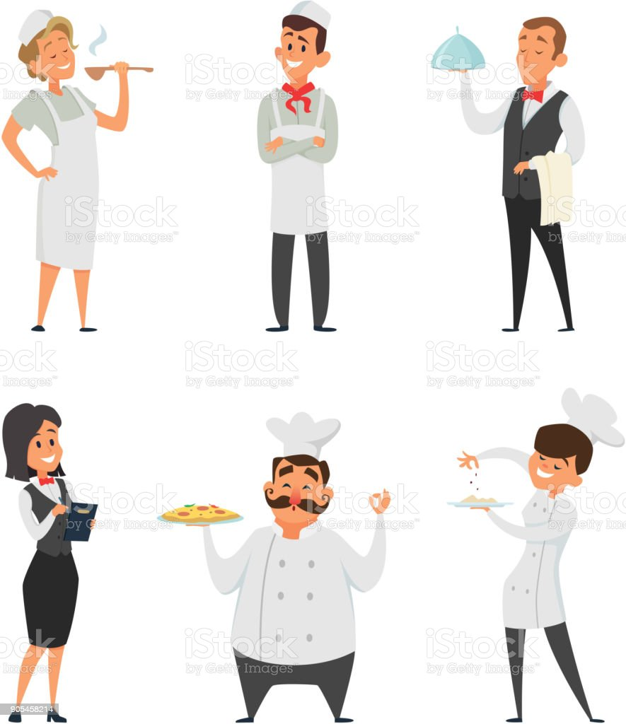 Professional staff of the restaurant. Cook, waiter and other cartoon characters vector art illustration