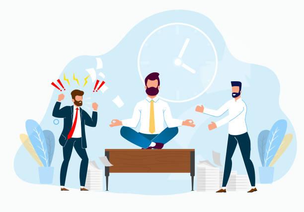 Professionelles Stressmanagement bei Work Cartoon. – Vektorgrafik