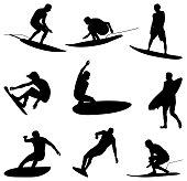 Professional surfers shredding waves