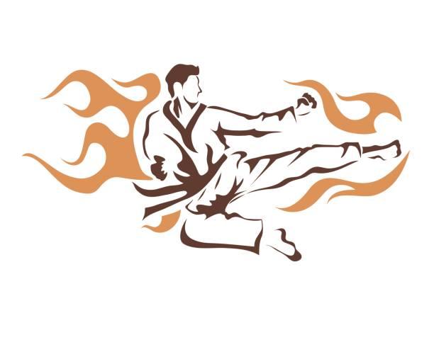 professional taekwondo athlete flying kick - taekwondo stock illustrations, clip art, cartoons, & icons