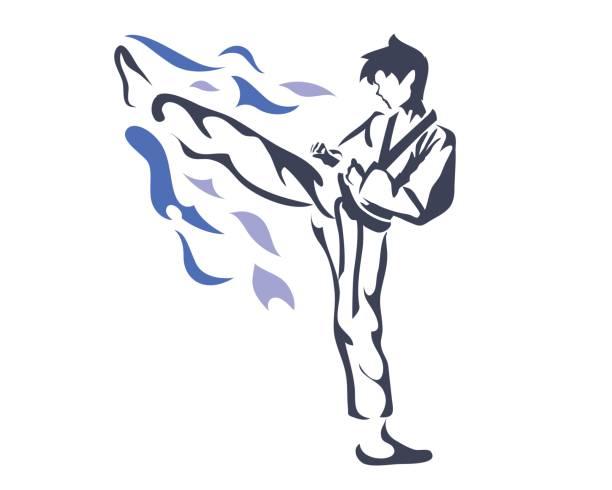 professional taekwondo athlete in warming up pose - taekwondo stock illustrations, clip art, cartoons, & icons