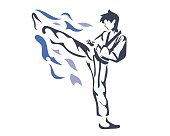 Professional Taekwondo Athlete In Warming Up Pose