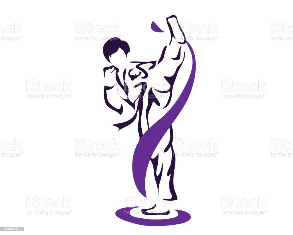 Atleta de Taekwondo profissional praticando chute alto - ilustração de arte em vetor
