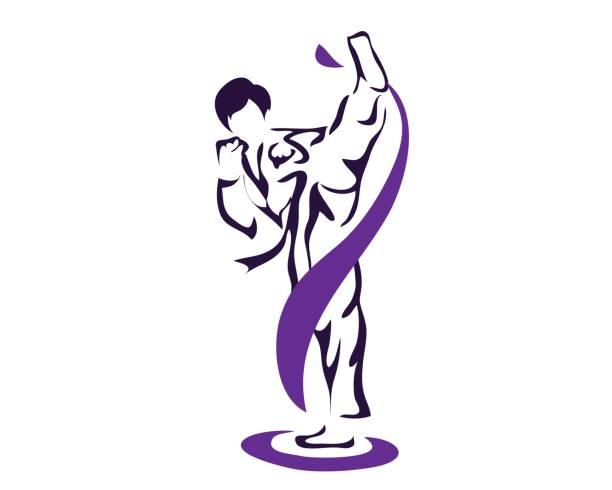 professional taekwondo athlete practicing high kick - taekwondo stock illustrations, clip art, cartoons, & icons