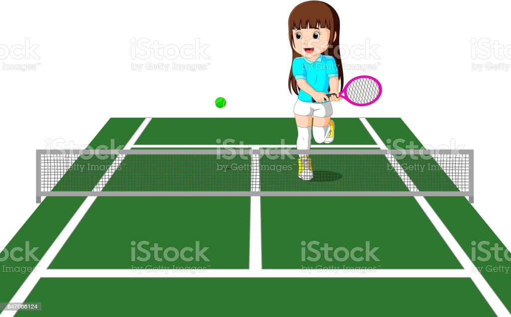 professional tennis player vector art illustration
