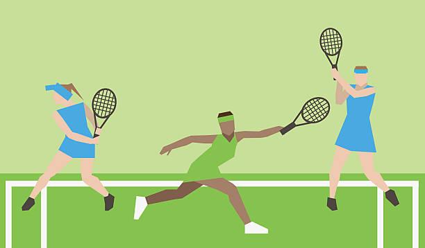 professionelle tennisspieler auf dem platz. - wimbledon stock-grafiken, -clipart, -cartoons und -symbole
