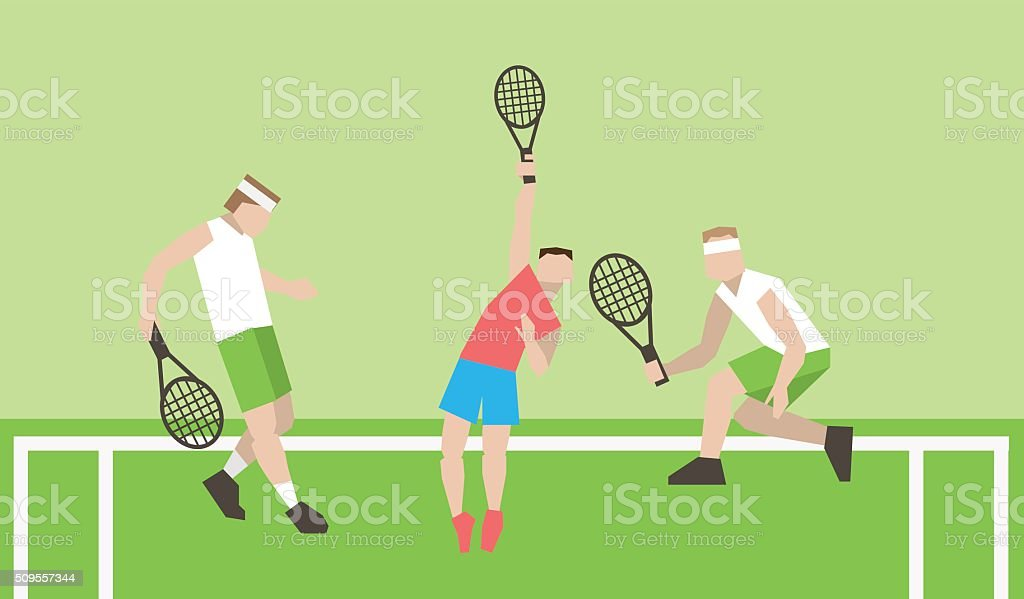 Professional tennis players on the tennis court. vector art illustration